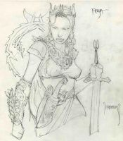 Freya pencil sketch by Dubisch