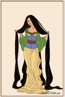 Rapunzel as Mulan by AidaPascal999