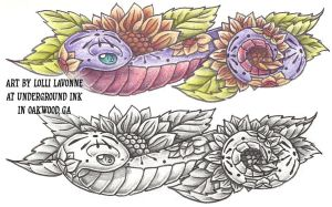 Snake with sunflowers by lavonne