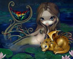 Mermaid with a Golden Dragon by jasminetoad