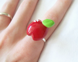 Shiny Red Apple Ring by MariposaMiniatures