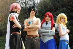 Lucy Natsu Gray and Erza Cosplay by DEATHNOTE---L