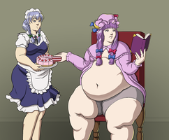 Commission: Sakuya and Patchouli by Aka-FA
