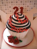 Red Rose Giant Cup Cake by gertygetsgangster