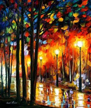 Lonely Park by Leonid Afremov by Leonidafremov