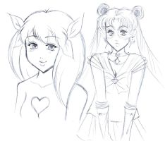 Wedding Peach and Sailor Moon (Sketch) by ninjin4ever