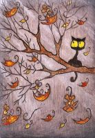 Fall Black Kitty In Tree by Darkcloudsabout