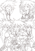 Sora and his Forms Outlines by KasumiKetchum