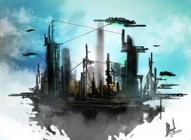 Future City Concept Sketch by Aths-Art