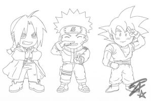 Chibi Heroes 1 - LineArt by AzraelDX