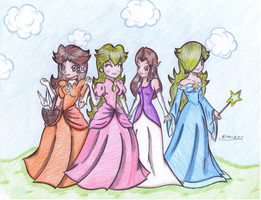 4 princesses in the breeze by Kimeria87