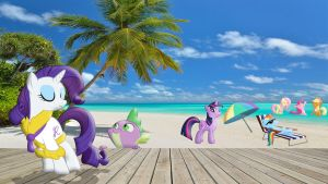 Mane 6 And Spike At The Beach by Macgrubor