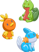 Pokemon Starters - Gen 3 by TipsyKipsy