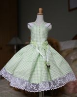 apple green gingham check dress for minifee by CandyKittensEmporium