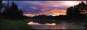 Sunset by the pond by DCPhotographics