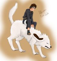 Kiba and Akamaru by fiffiluren