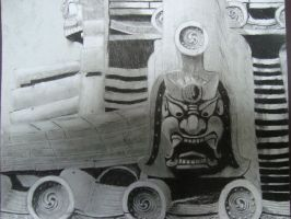 Japanese Rooftop (Charcoal) by HigeOkami