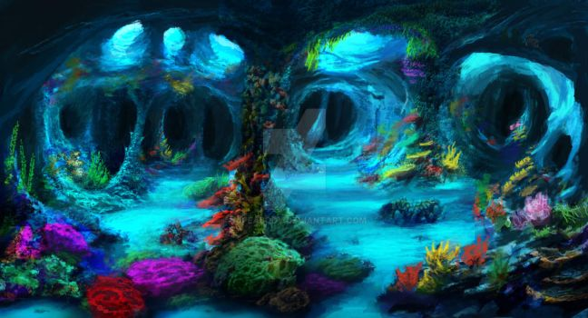 Underwater Caves (Commission) by jjpeabody