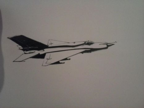 MiG - 21 Ink Drawing [II] by Rooivalk1