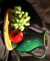 Jug, grapes and apple by EthicallyChallenged