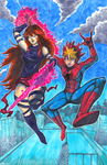 Commission: OC's as Spiderman and Psylocke by matsuyama-takeshi