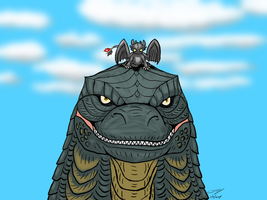 Godzilla and Toothless - 20140704 by ryuuseipro