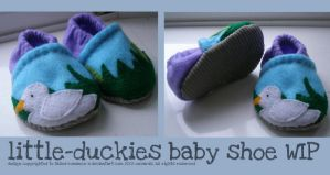 little-duckies baby shoes WIP2 by hypnocampus