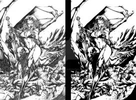 Lady Death Cover Inked by DontBornInInk
