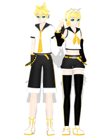 .: DL Series :. Rin and Len Kagamine by Duekko