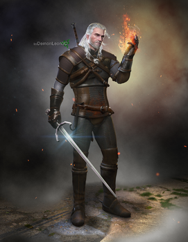 Geralt - The Witcher 3 by DemonLeon3D