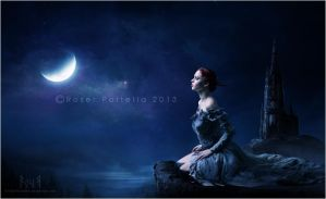 a prophetic dream in a moonlit night by EmberRoseArt
