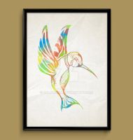 hummingbird watercolor print poster by ColourInk