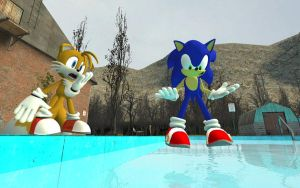 Sonic Stands On Water by shadow759