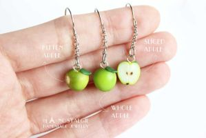 Fresh Green Apple Dangle Earrings Handmade by LaNostalgie05