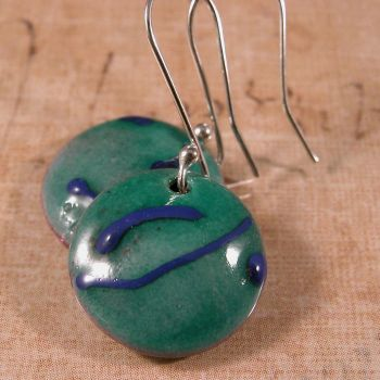 Teal with blue enamel on copper earrings by cserpentDesigns