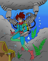 Kat's Underwater Treaure Hunt - Color Commission by The-Sakura-Samurai