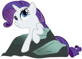 Thoughtful Rarity on a rock by SilverMapWolf