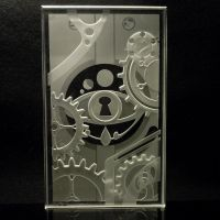Steampunk Etched Glass Mechanical Key Paperweight by ImaginedGlass