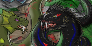 Megafang Vs The Great Devour by pythorandmouthor