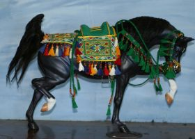 Green arab saddle set by tolthorse