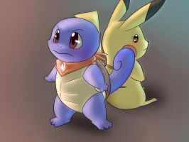 Squirtle and Pikachu by Vermeilbird