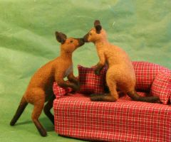 Needle felted poseable Kangaroos on the sofa by Sofakitty