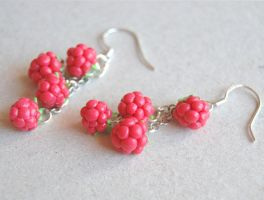 Raspberry Dangle earrings by Madizzo