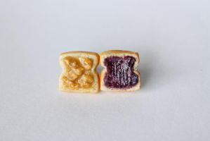 Polymer Clay Peanut Butter and Jelly Stud Earrings by ChroniclesOfKate
