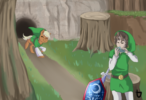 Link and Epona by teabut