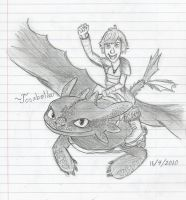 Hiccup and Toothless Sketch by Josabella