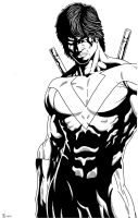 Nightwing close up Inked by TyndallsQuest