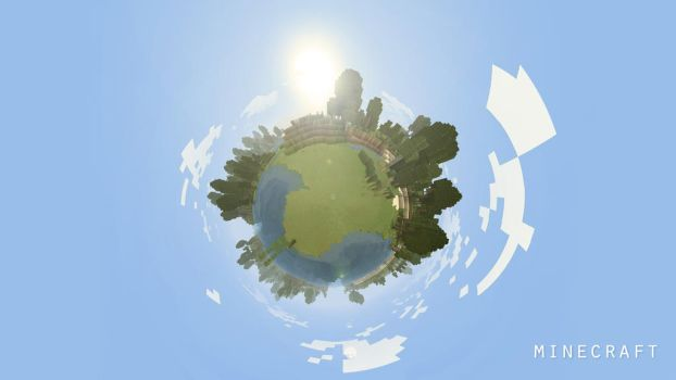 Minecraft Planet Wallpaper by sweety15267