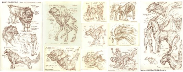 Sepia Toned Pen Sketches on Moleskine Sketchbook by MIKECORRIERO