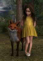 Girl with Fox in Woods by Cypherfox